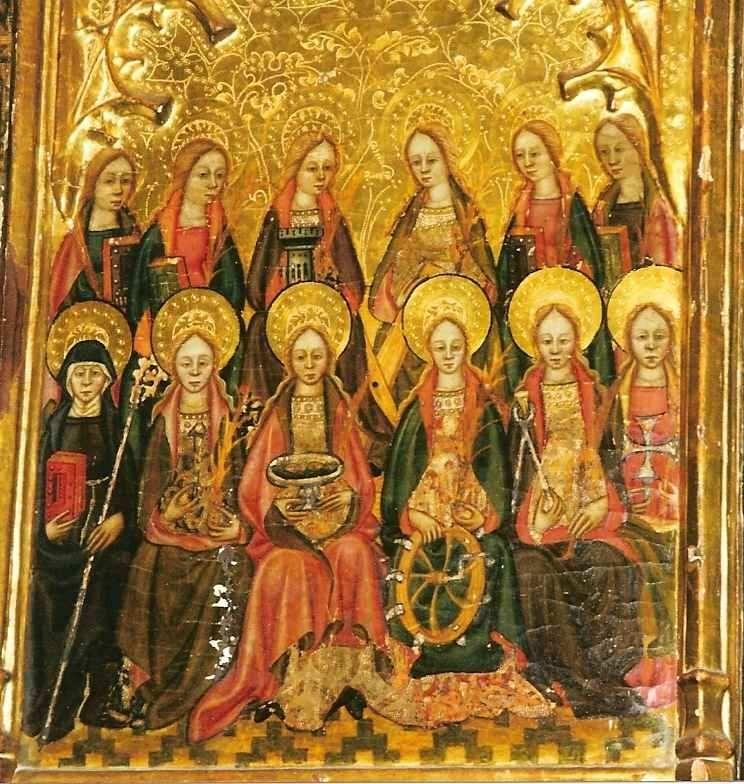 Pedro de Zuera, Retablo de la Coronación de la Virgen María con Santas Mártires, segundo cuarto del siglo XV, temple sobre tabla. Museo Diocesano de Huesca (España).