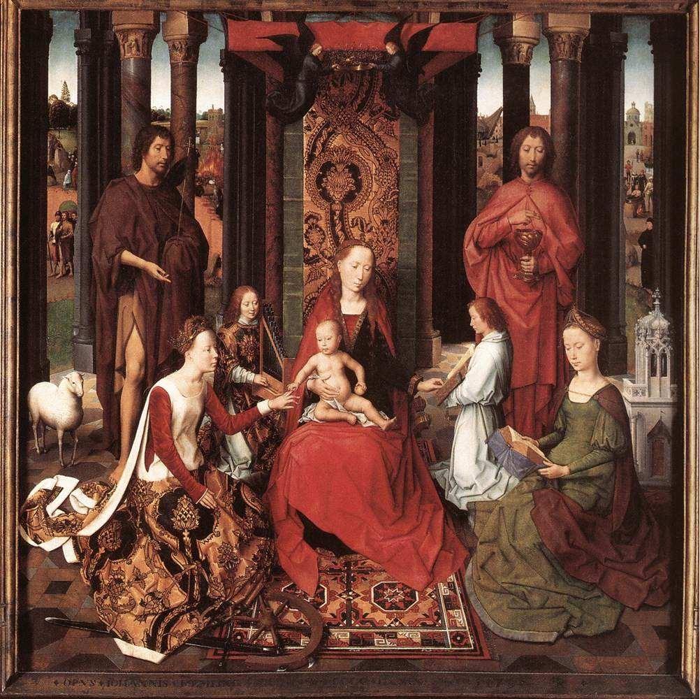 Hans Memling, Desposorios místicos de Santa Catalina de Alejandría, tabla central del Tríptico de San Juan, ca. 1474-1479, óleo sobre tabla. Brujas, Memlingmuseum, Sint-Janshospitaal.