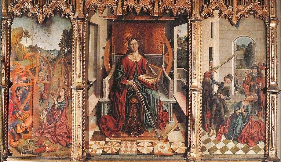 Fernando Gallego, Tríptico de Santa Catalina, ca. 1503, pintura sobre tabla, claustro de la Catedral Vieja de Salamanca (España).