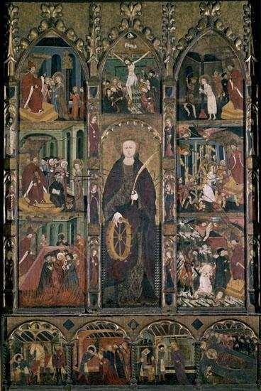 Retablo de Santa Catalina, procedente de Castellbò, Lérida (España), s. XIV, pintura sobre tabla. Barcelona, MNAC.